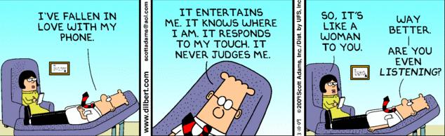 Dilbert elsker sin telefon